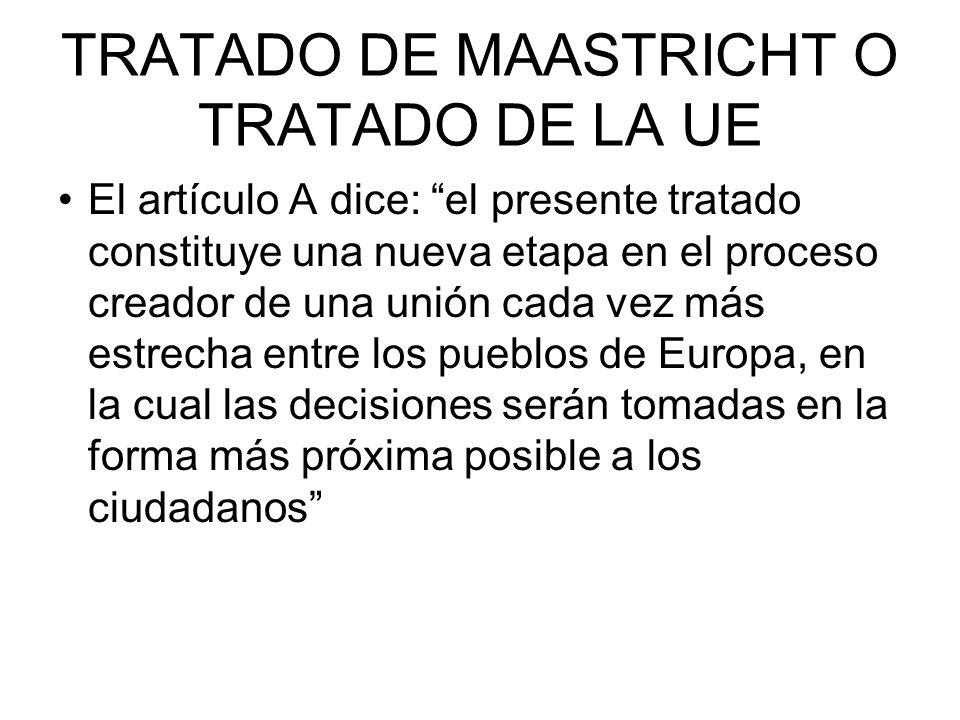 TRATADO DE MAASTRICHT O TRATADO DE LA UE