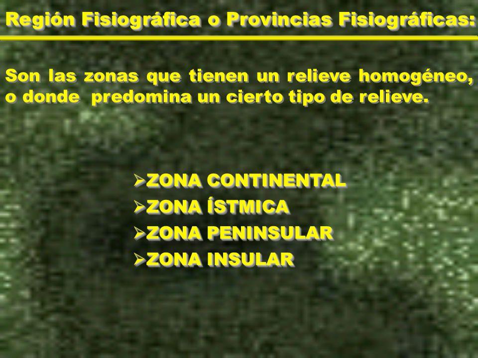 Región Fisiográfica o Provincias Fisiográficas: