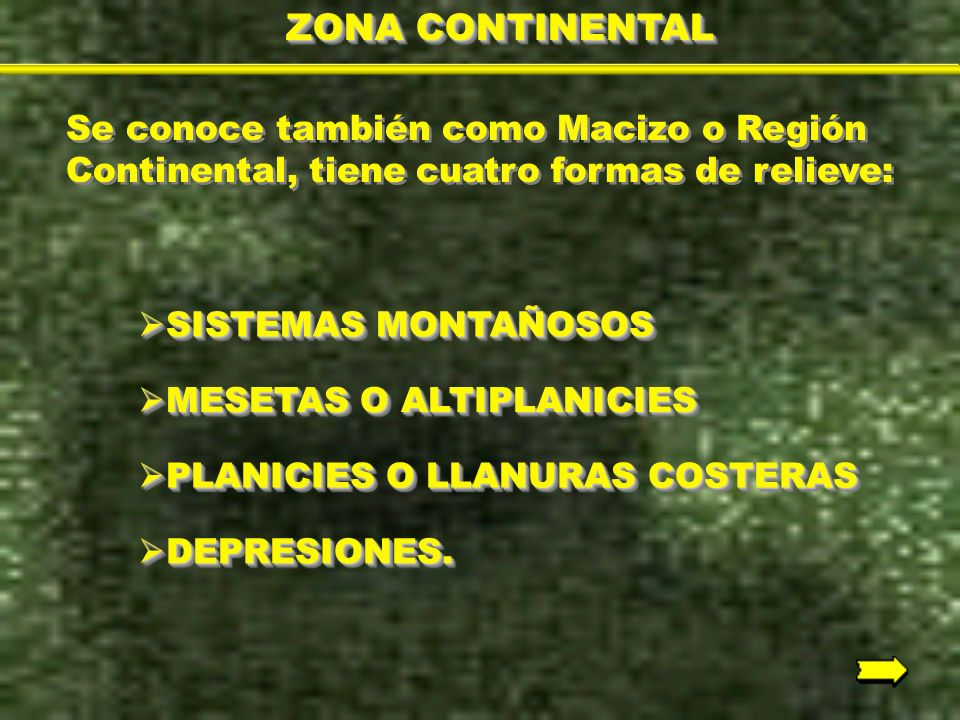 ZONA CONTINENTAL Se conoce también como Macizo o Región Continental, tiene cuatro formas de relieve:
