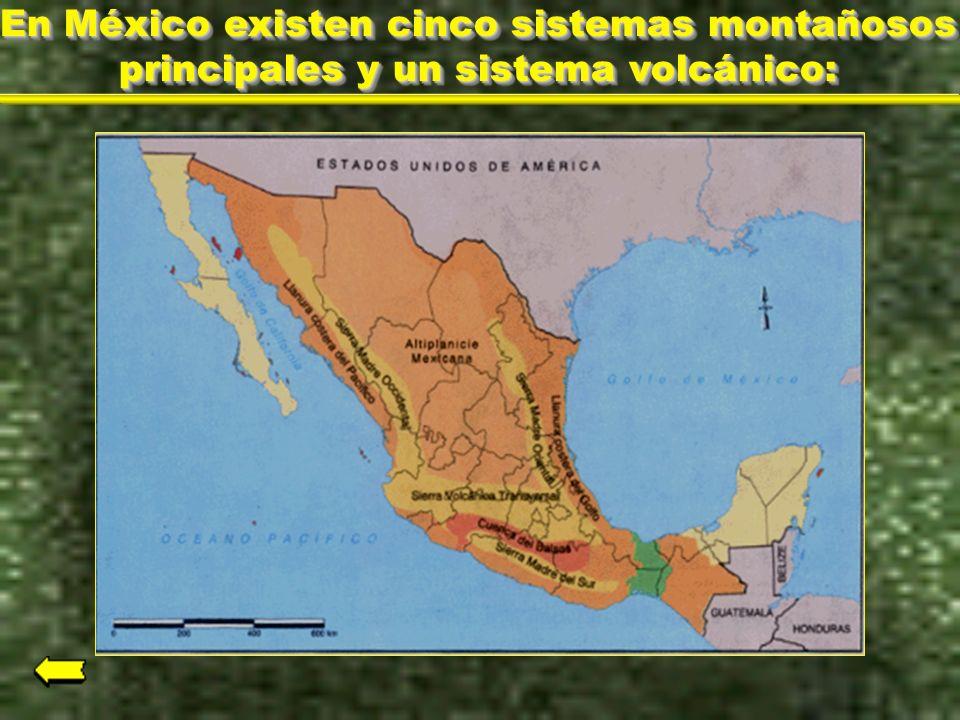 En México existen cinco sistemas montañosos principales y un sistema volcánico: