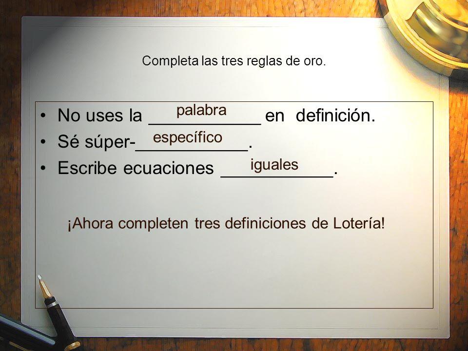 Aparador Estreito Para Corredor ~ Las tres reglas de oro 1 No uses la palabra en la definición ppt descargar