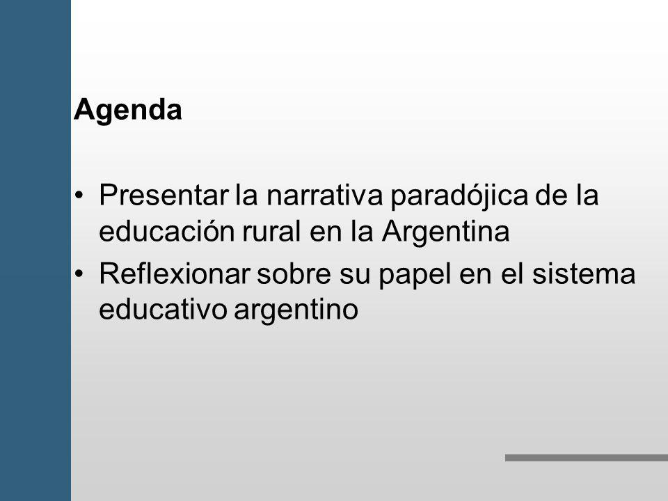 Agenda Presentar la narrativa paradójica de la educación rural en la Argentina.