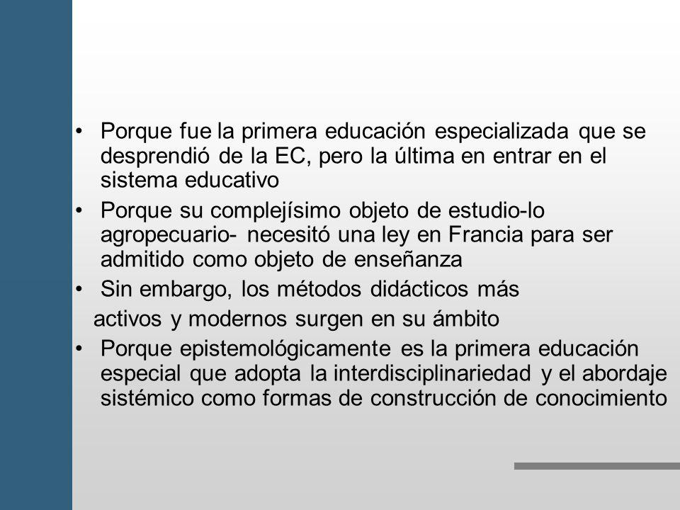 Porque fue la primera educación especializada que se desprendió de la EC, pero la última en entrar en el sistema educativo