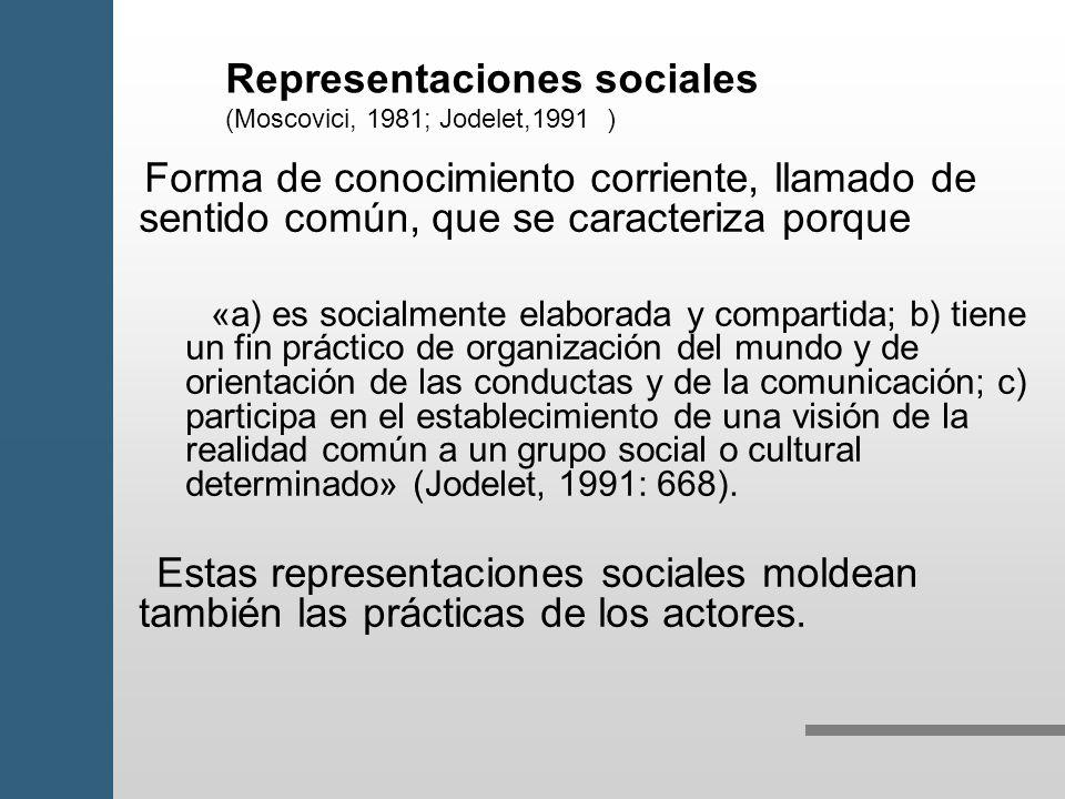 Representaciones sociales (Moscovici, 1981; Jodelet,1991 )