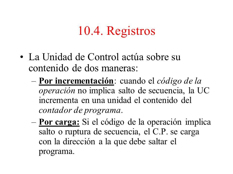 10.4. Registros La Unidad de Control actúa sobre su contenido de dos maneras: