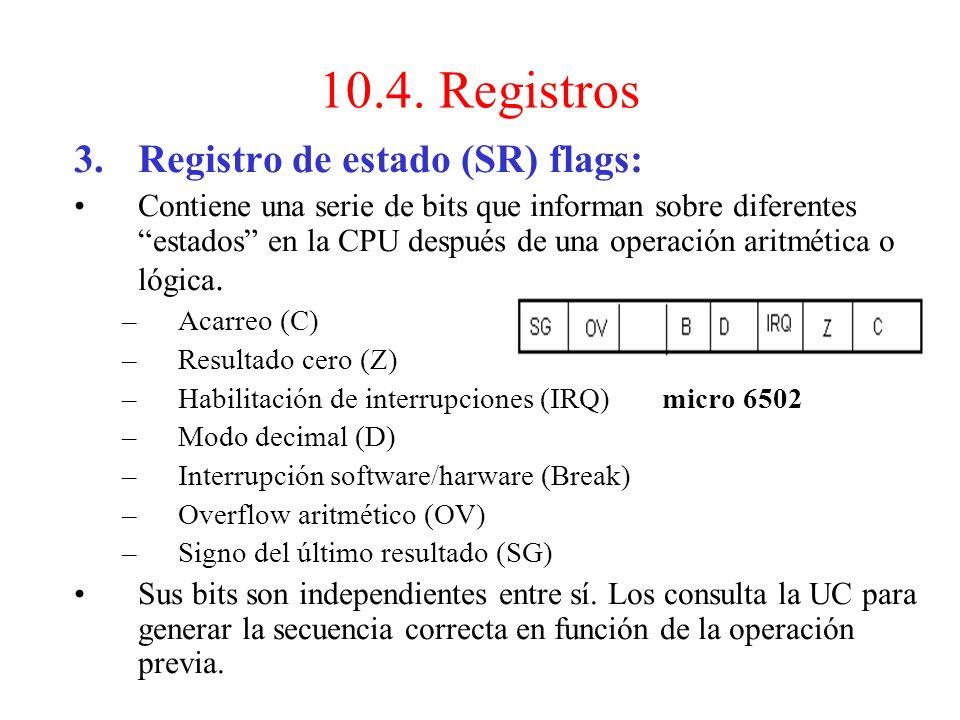 10.4. Registros Registro de estado (SR) flags: