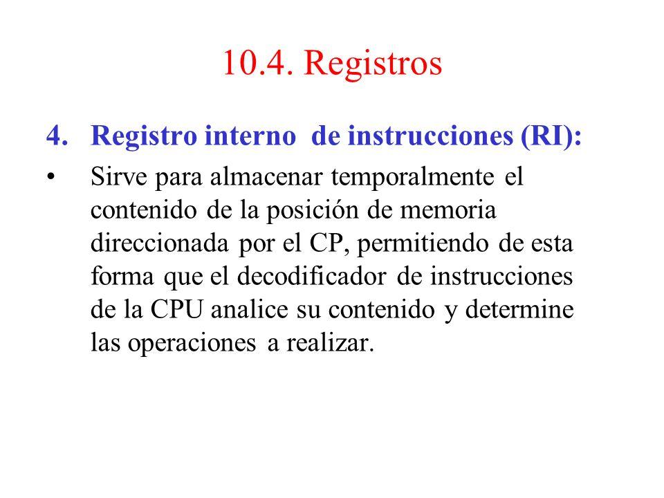 10.4. Registros Registro interno de instrucciones (RI):