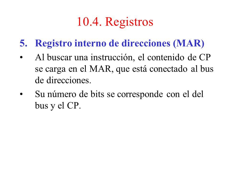 10.4. Registros Registro interno de direcciones (MAR)