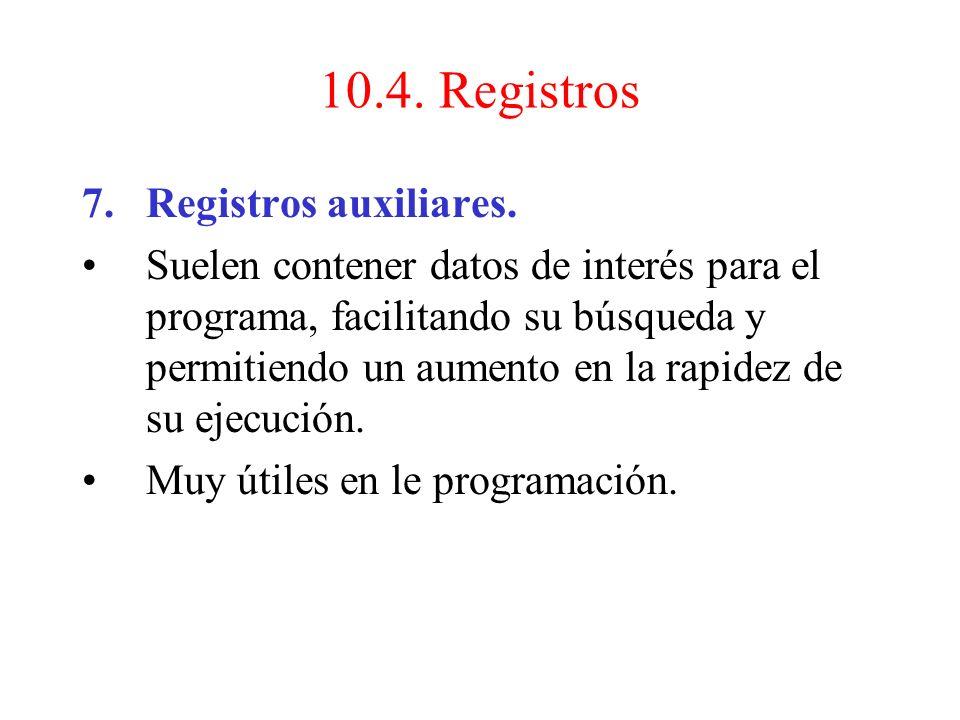 10.4. Registros Registros auxiliares.