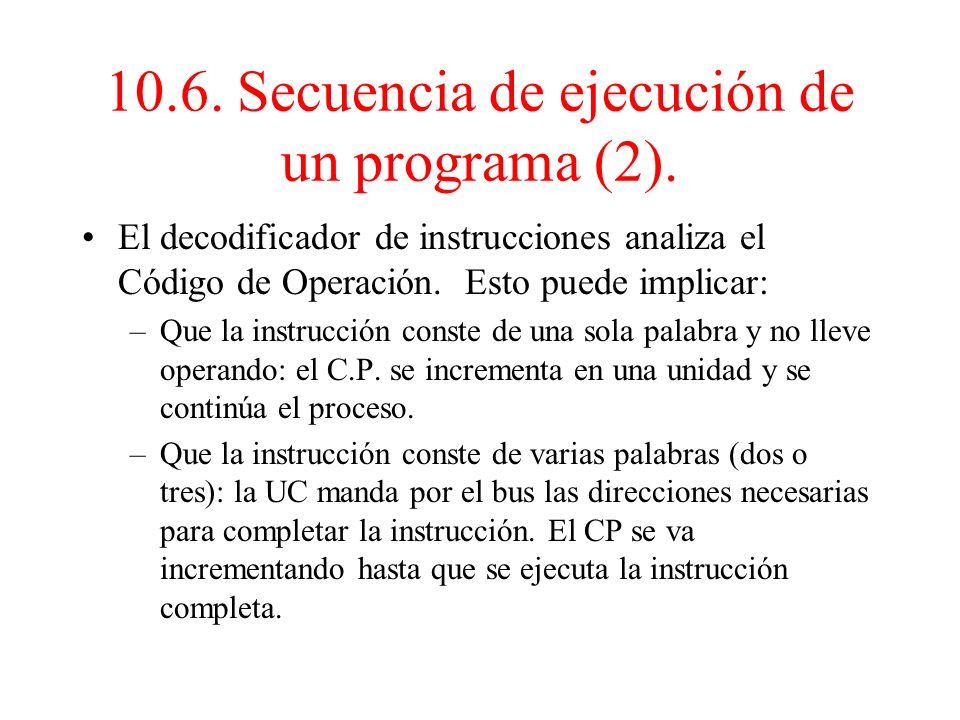 10.6. Secuencia de ejecución de un programa (2).