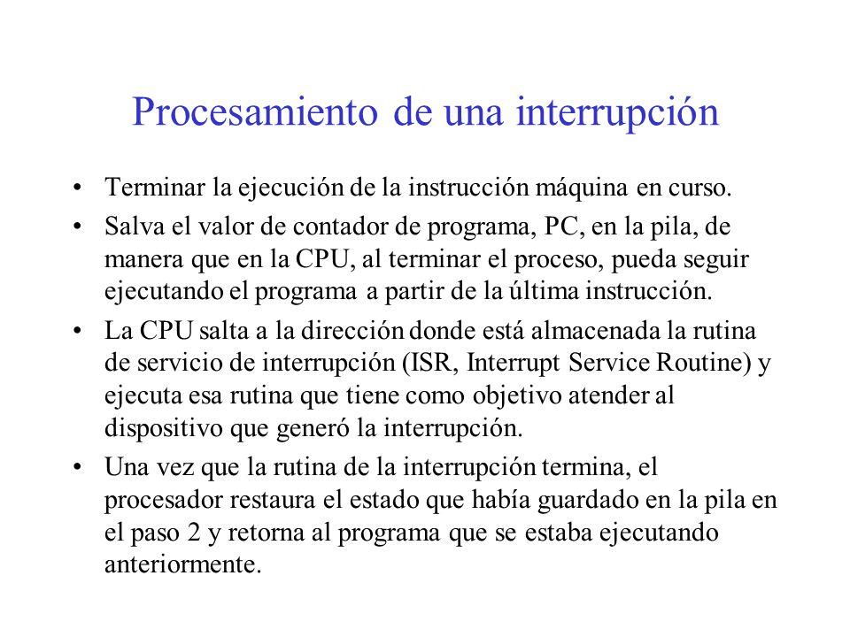 Procesamiento de una interrupción