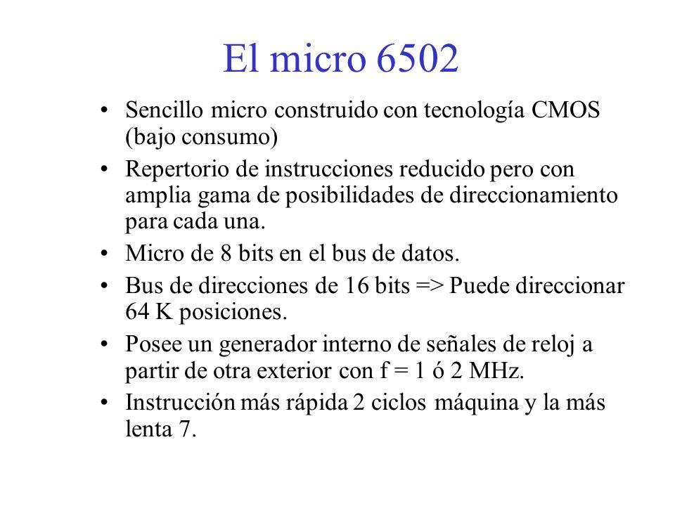 El micro 6502 Sencillo micro construido con tecnología CMOS (bajo consumo)