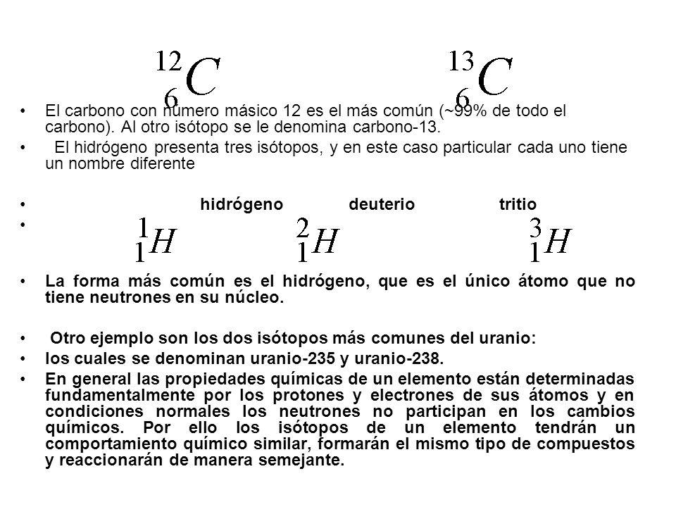El carbono con número másico 12 es el más común (~99% de todo el carbono). Al otro isótopo se le denomina carbono-13.