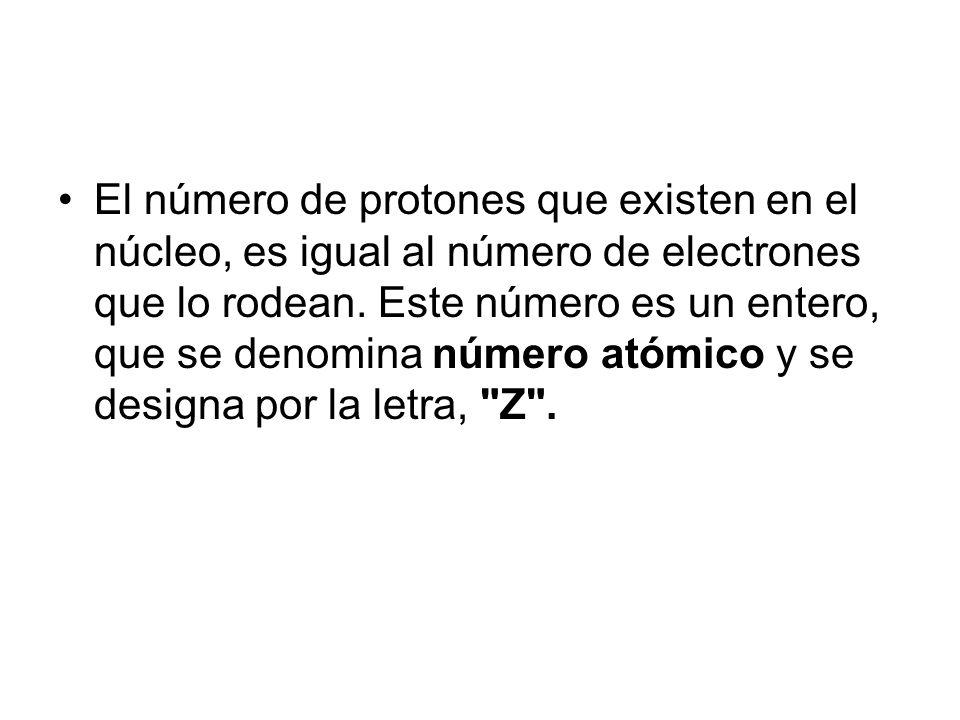 El número de protones que existen en el núcleo, es igual al número de electrones que lo rodean.