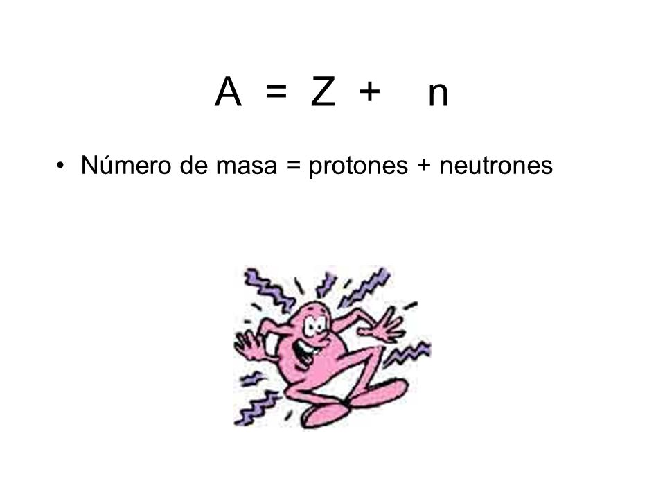 A = Z + n Número de masa = protones + neutrones
