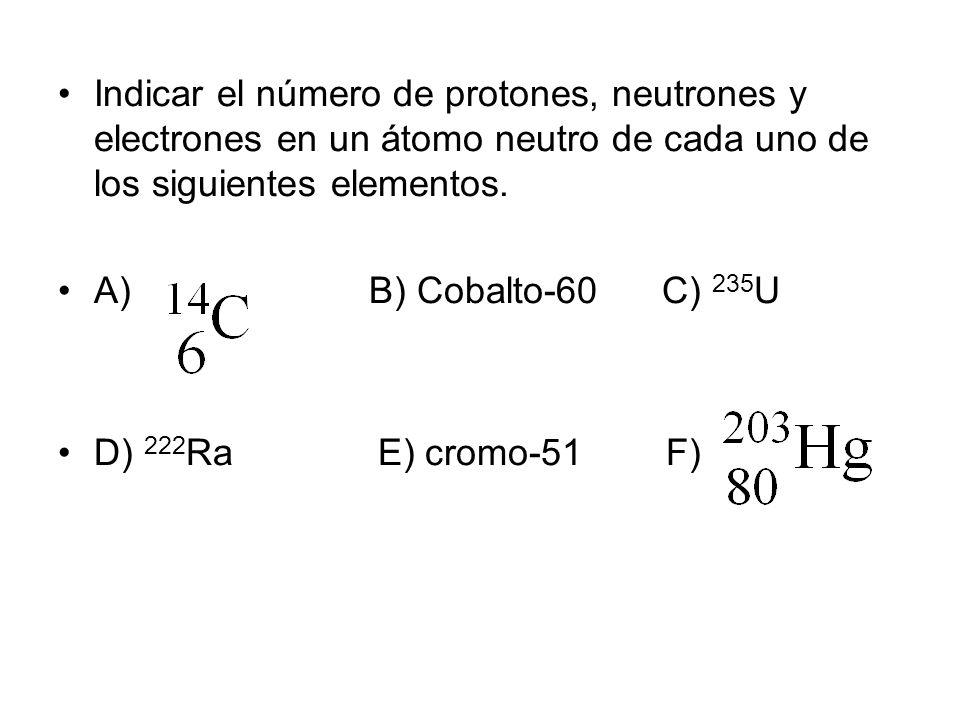 Indicar el número de protones, neutrones y electrones en un átomo neutro de cada uno de los siguientes elementos.