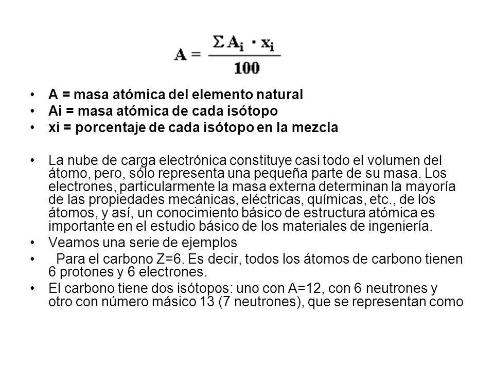 A = masa atómica del elemento natural