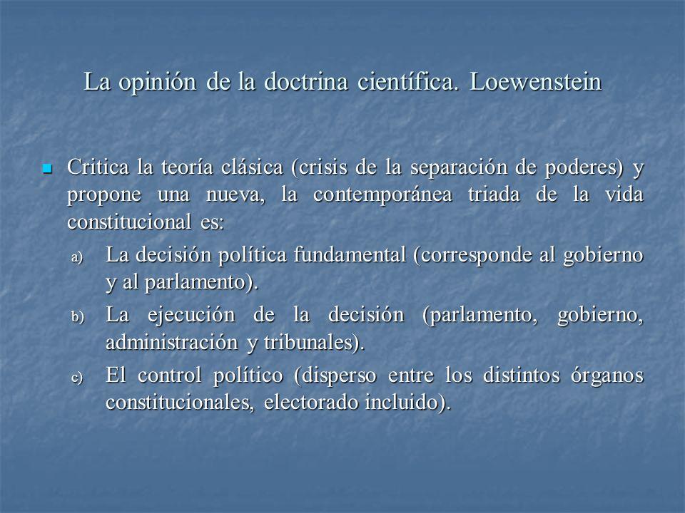 La opinión de la doctrina científica. Loewenstein