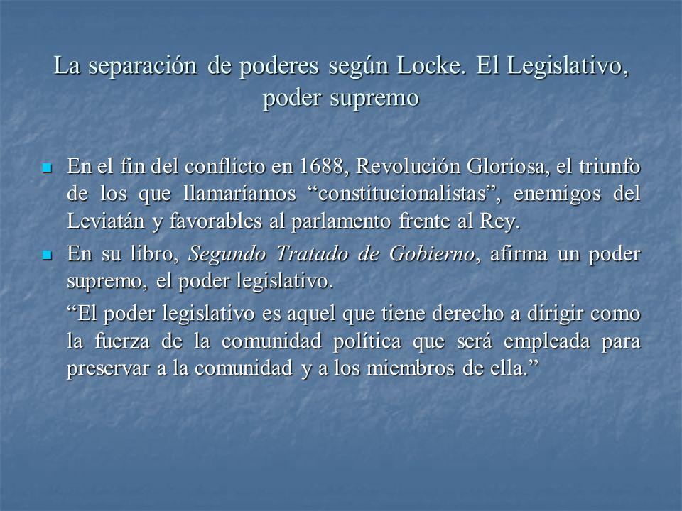 La separación de poderes según Locke. El Legislativo, poder supremo