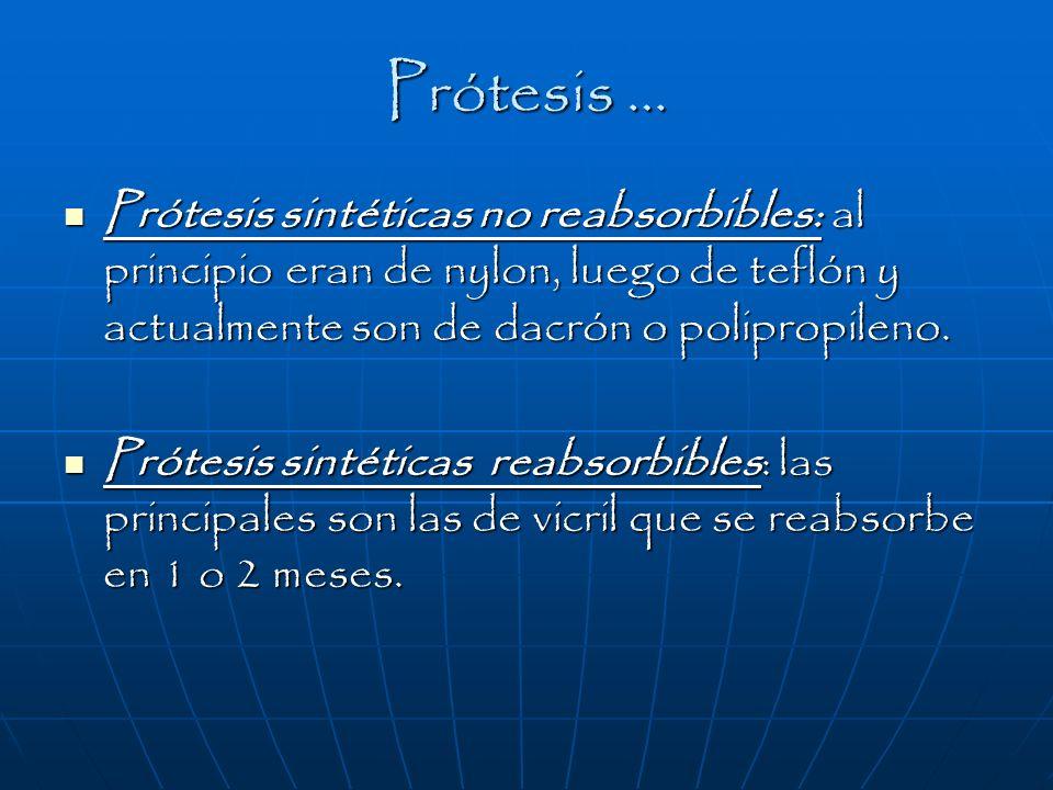 Prótesis … Prótesis sintéticas no reabsorbibles: al principio eran de nylon, luego de teflón y actualmente son de dacrón o polipropileno.