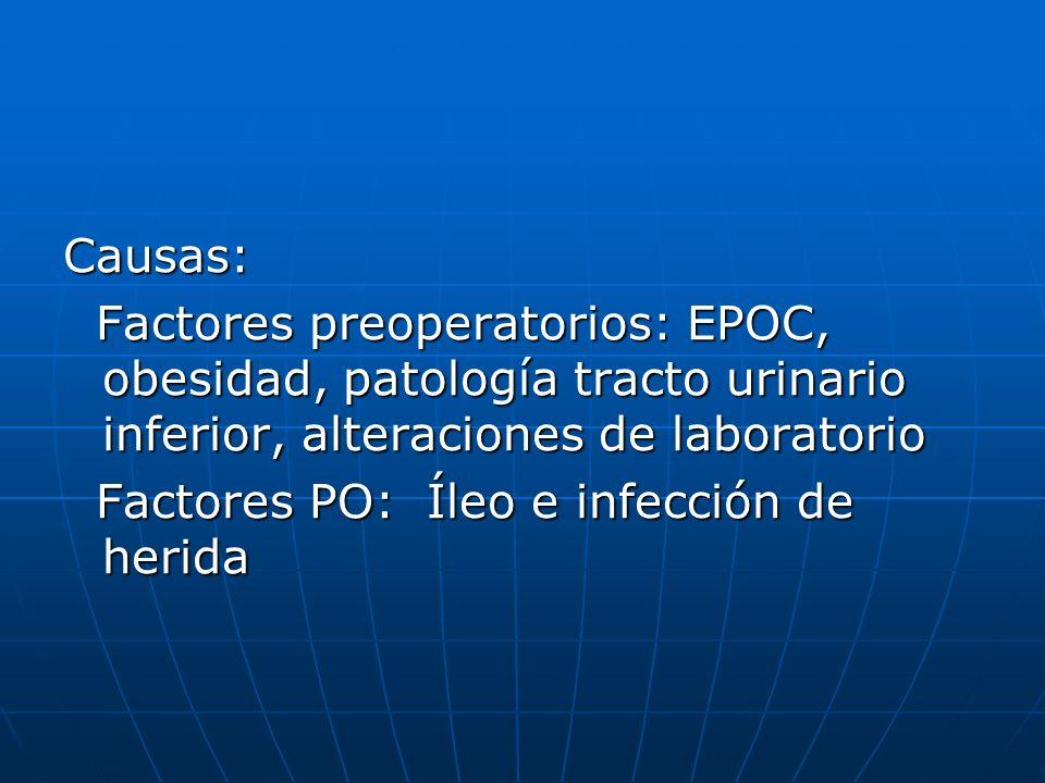 Causas: Factores preoperatorios: EPOC, obesidad, patología tracto urinario inferior, alteraciones de laboratorio.