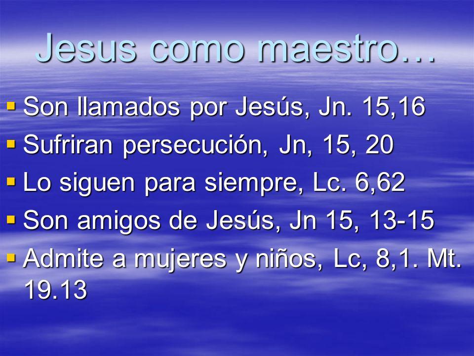 Jesus como maestro… Son llamados por Jesús, Jn. 15,16