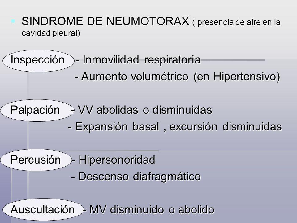 SINDROME DE NEUMOTORAX ( presencia de aire en la cavidad pleural)