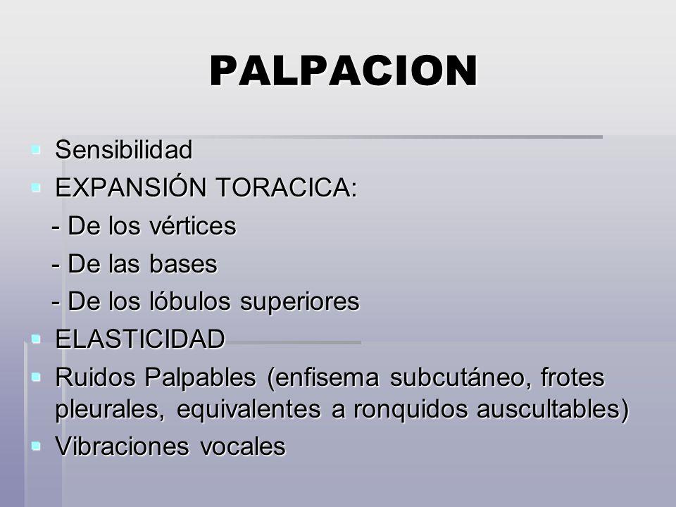 PALPACION Sensibilidad EXPANSIÓN TORACICA: - De los vértices