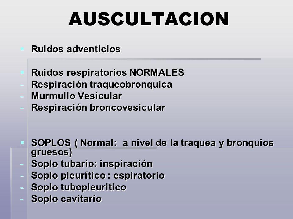 AUSCULTACION Ruidos adventicios Ruidos respiratorios NORMALES