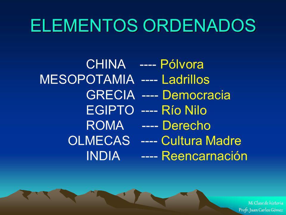 ELEMENTOS ORDENADOS MESOPOTAMIA ---- Ladrillos GRECIA ---- Democracia
