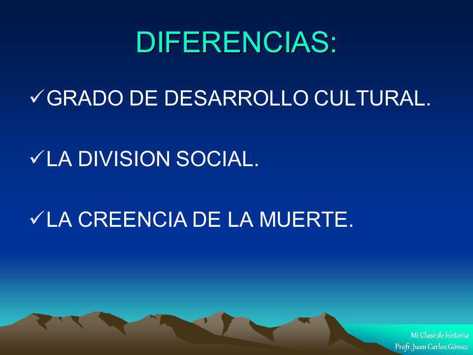 DIFERENCIAS: GRADO DE DESARROLLO CULTURAL. LA DIVISION SOCIAL.