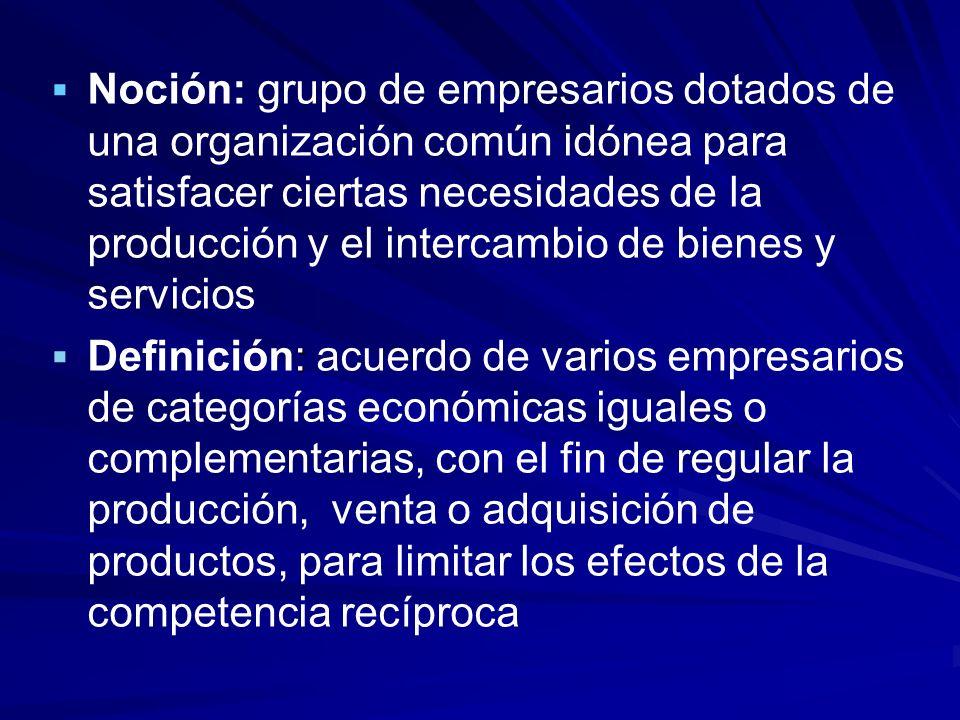 Noción: grupo de empresarios dotados de una organización común idónea para satisfacer ciertas necesidades de la producción y el intercambio de bienes y servicios