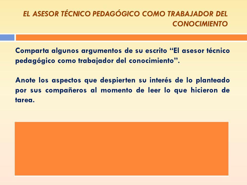 EL ASESOR TÉCNICO PEDAGÓGICO COMO TRABAJADOR DEL CONOCIMIENTO