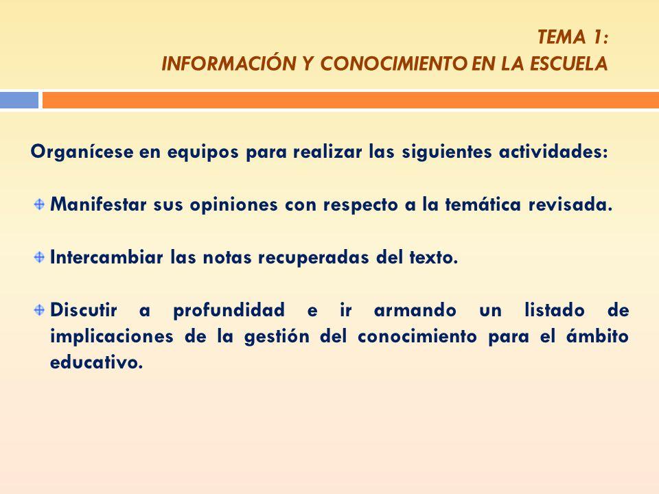 TEMA 1: INFORMACIÓN Y CONOCIMIENTO EN LA ESCUELA