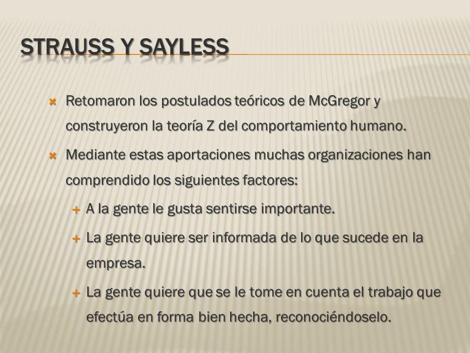 Strauss y Sayless Retomaron los postulados teóricos de McGregor y construyeron la teoría Z del comportamiento humano.