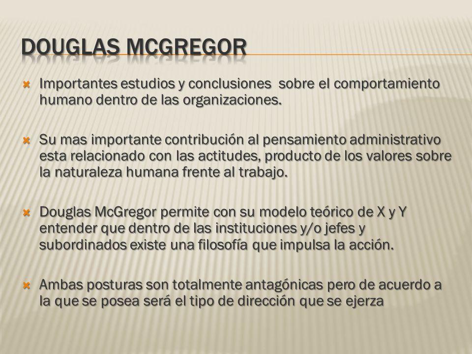 DOUGLAS McGREGOR Importantes estudios y conclusiones sobre el comportamiento humano dentro de las organizaciones.
