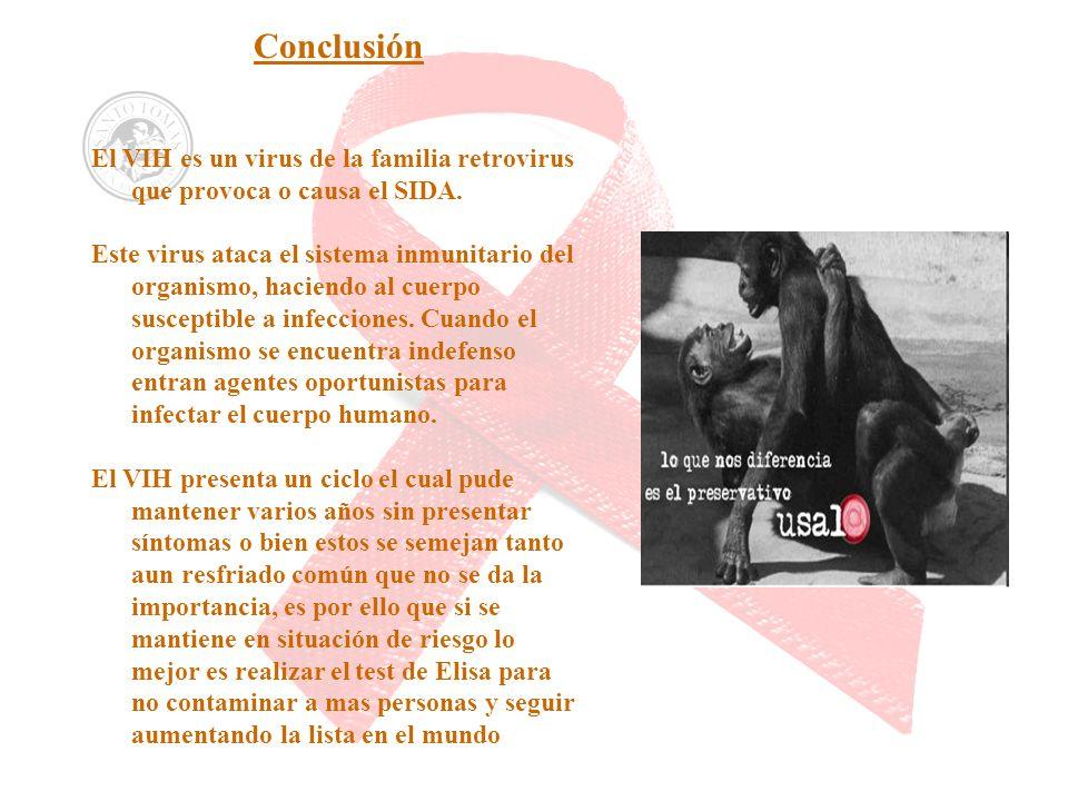 ConclusiónEl VIH es un virus de la familia retrovirus que provoca o causa el SIDA.