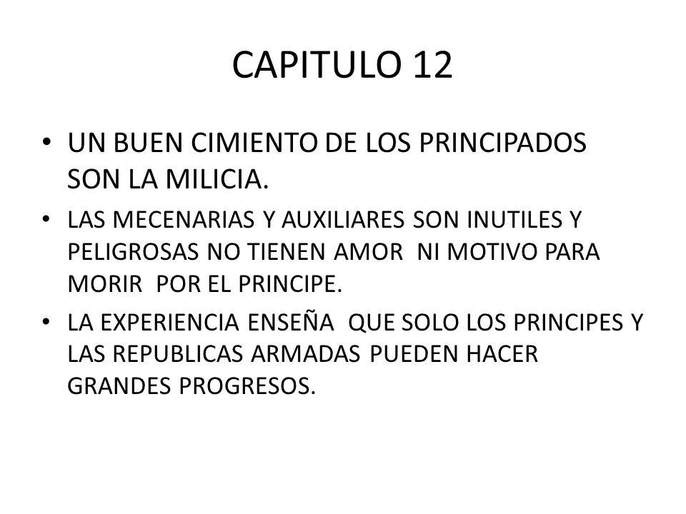 CAPITULO 12 UN BUEN CIMIENTO DE LOS PRINCIPADOS SON LA MILICIA.