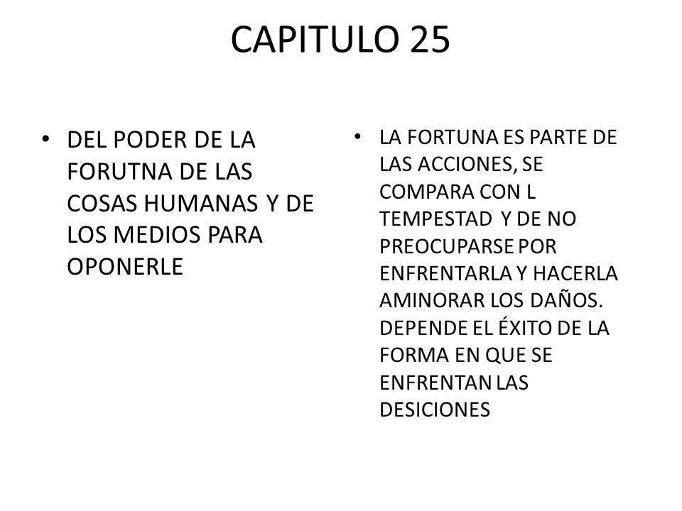 CAPITULO 25 DEL PODER DE LA FORUTNA DE LAS COSAS HUMANAS Y DE LOS MEDIOS PARA OPONERLE.