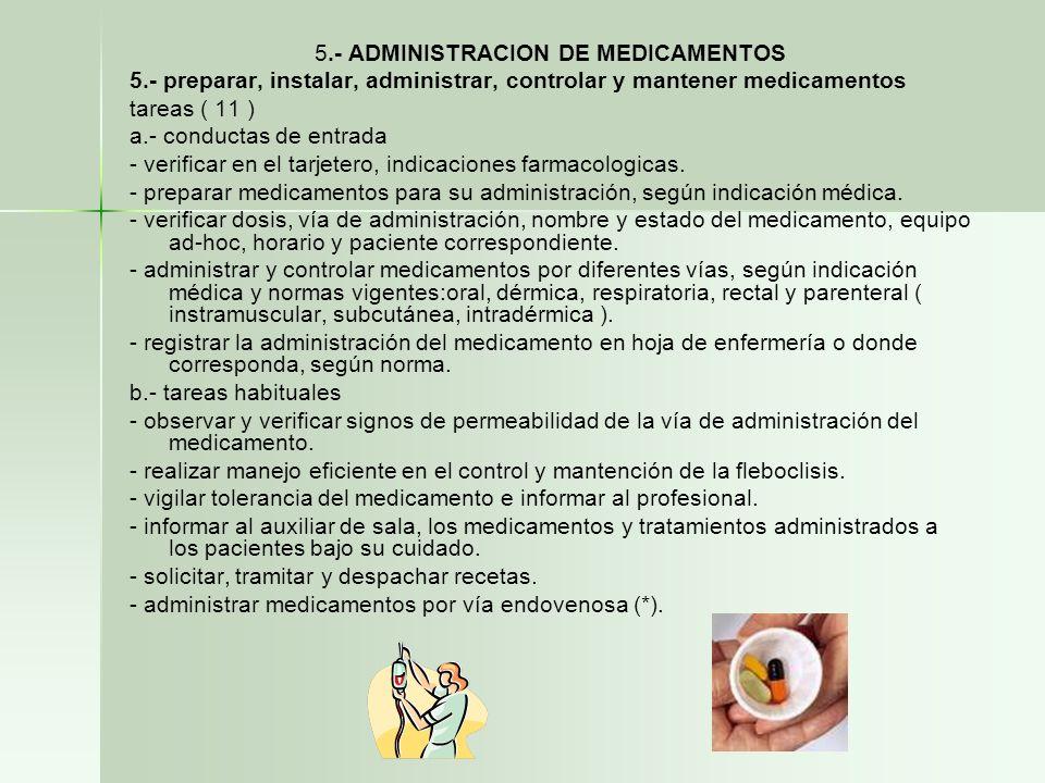 5.- ADMINISTRACION DE MEDICAMENTOS