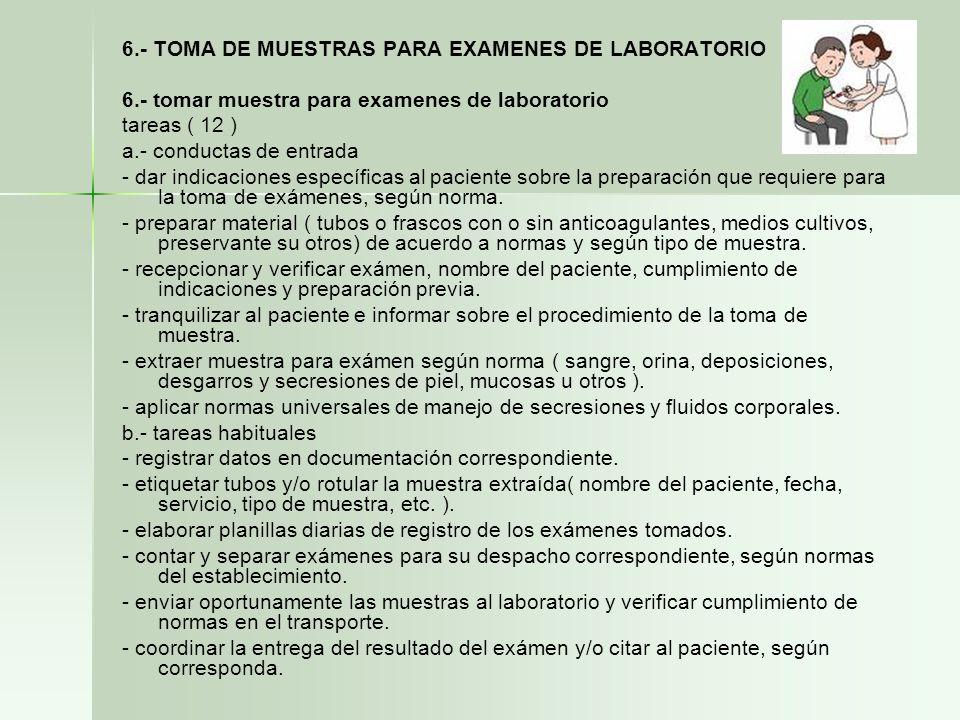 6.- TOMA DE MUESTRAS PARA EXAMENES DE LABORATORIO