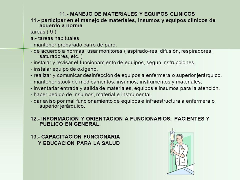 11.- MANEJO DE MATERIALES Y EQUIPOS CLINICOS