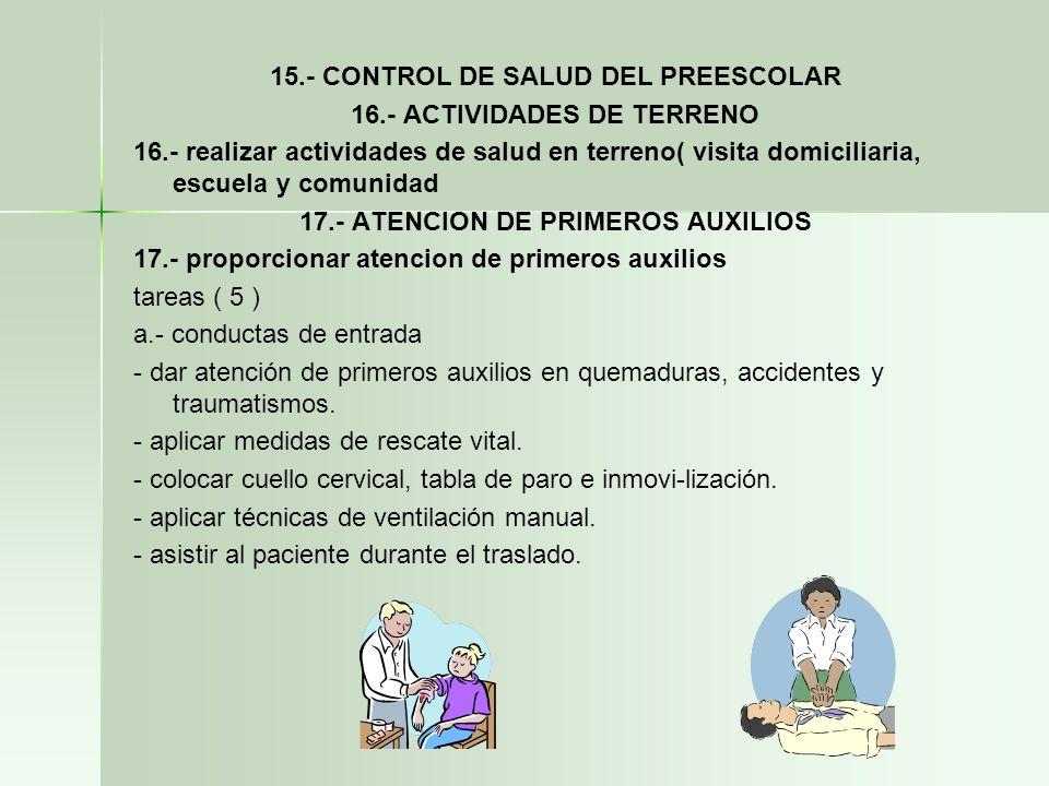 15.- CONTROL DE SALUD DEL PREESCOLAR 16.- ACTIVIDADES DE TERRENO
