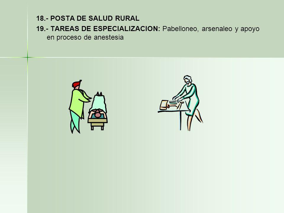 18.- POSTA DE SALUD RURAL 19.- TAREAS DE ESPECIALIZACION: Pabelloneo, arsenaleo y apoyo en proceso de anestesia.