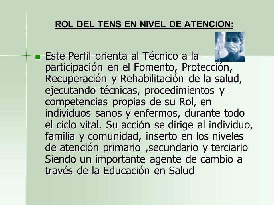 ROL DEL TENS EN NIVEL DE ATENCION: