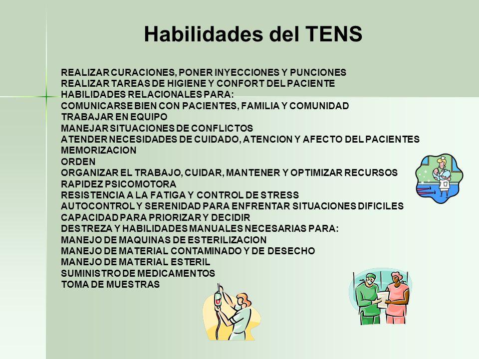 Habilidades del TENS REALIZAR CURACIONES, PONER INYECCIONES Y PUNCIONES. REALIZAR TAREAS DE HIGIENE Y CONFORT DEL PACIENTE.