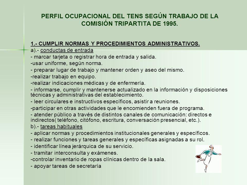 PERFIL OCUPACIONAL DEL TENS SEGÚN TRABAJO DE LA COMISIÓN TRIPARTITA DE 1995.
