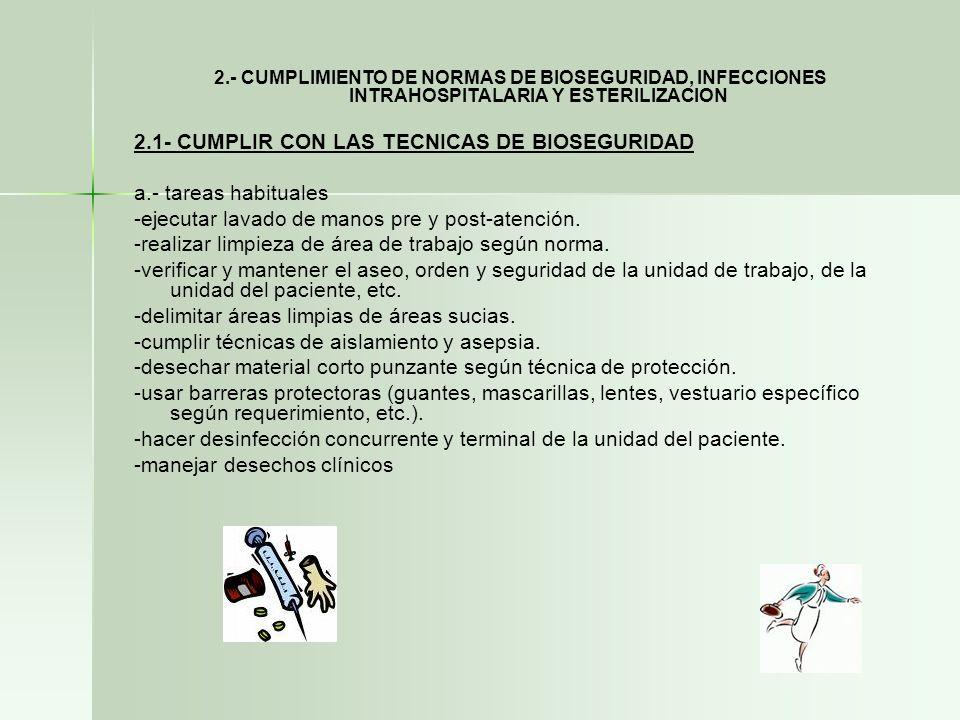 2.1- CUMPLIR CON LAS TECNICAS DE BIOSEGURIDAD a.- tareas habituales
