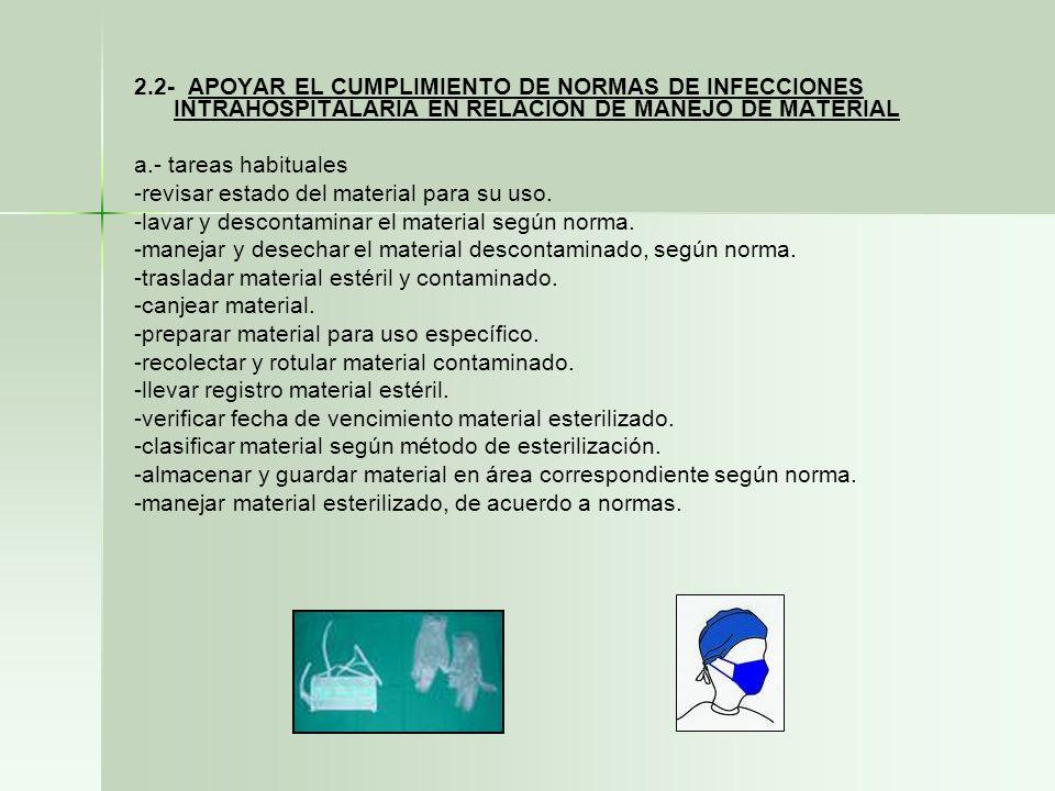2.2- APOYAR EL CUMPLIMIENTO DE NORMAS DE INFECCIONES INTRAHOSPITALARIA EN RELACION DE MANEJO DE MATERIAL