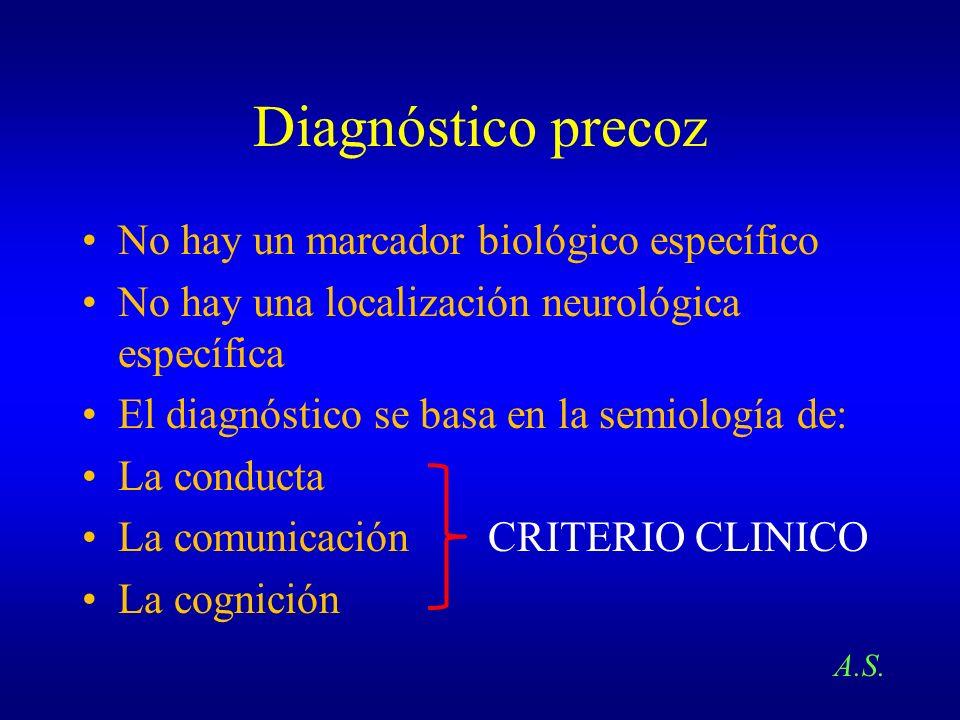 Diagnóstico precoz No hay un marcador biológico específico